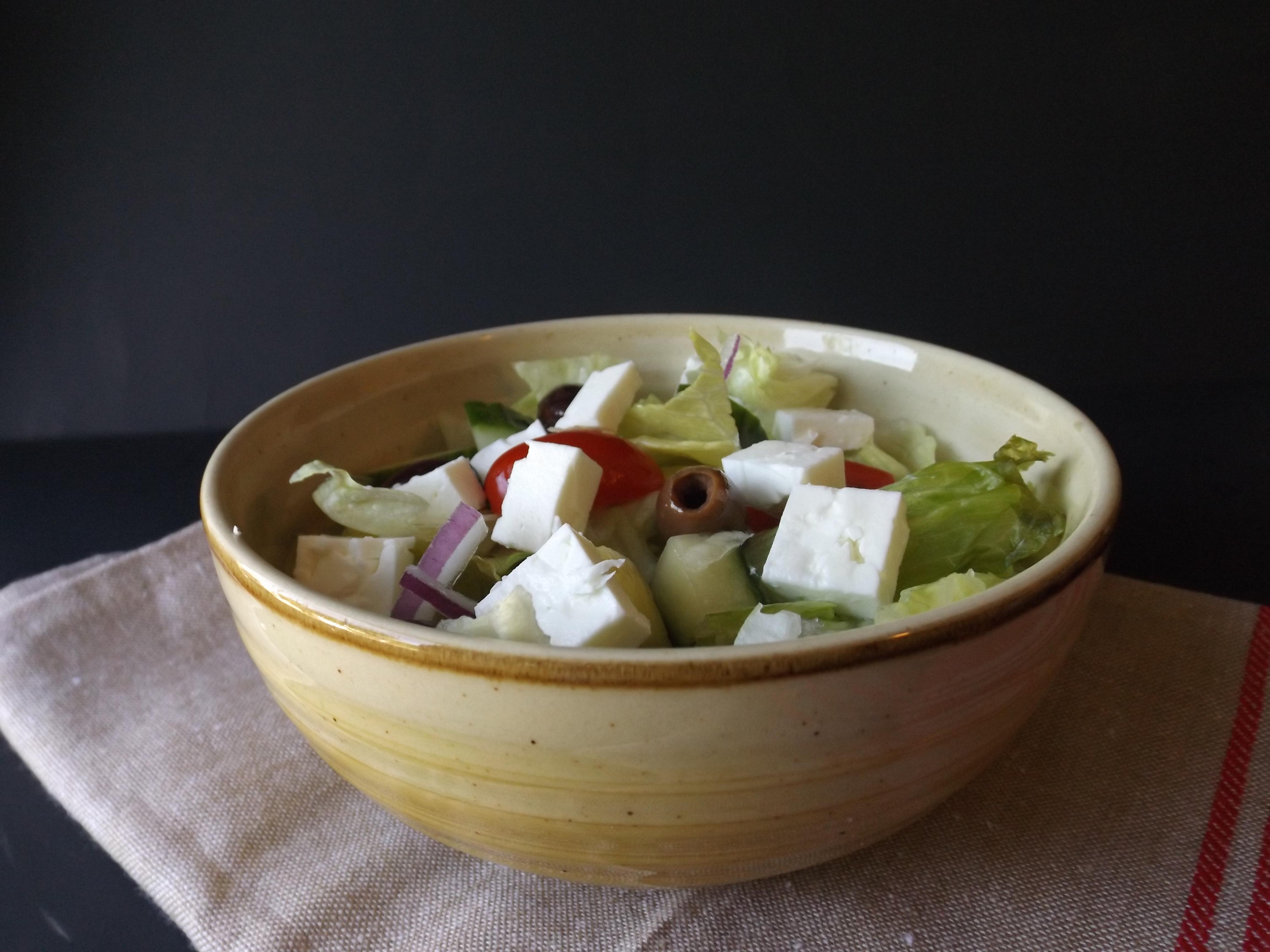 ensalada griega con vinagre balsamico