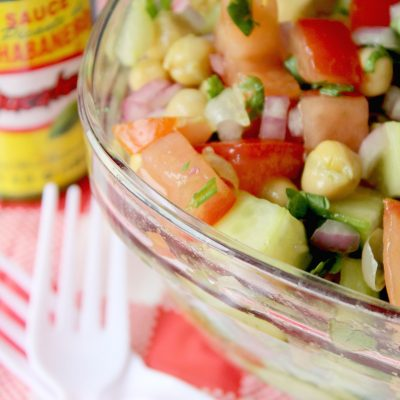 Colorful Chickpea salad perfect for cookouts!