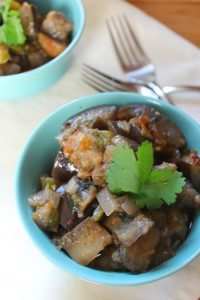 Chipotle stewed eggplants
