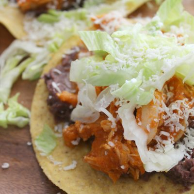 Spicy Chicken Tostadas (Tinga de pollo)