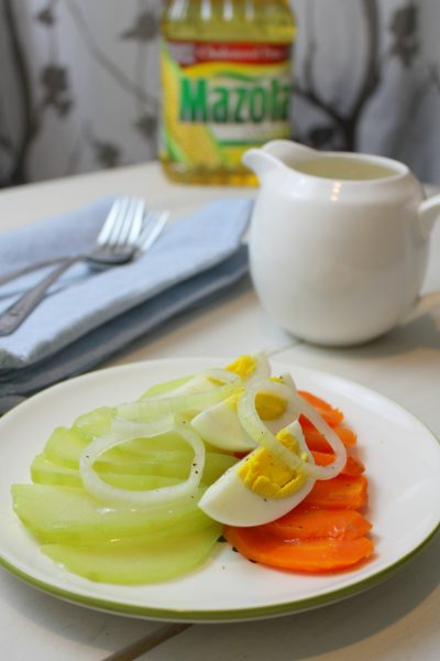 chayote, carrot and egg salad with caribbean dressing (ensalada hervida)