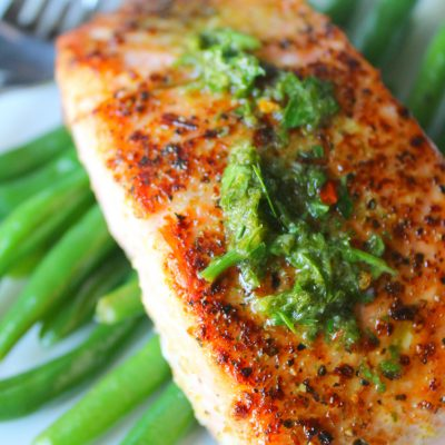 Grilled salmon with chimichurri sauce