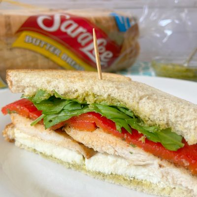 Pesto Chicken and Mozzarella Sandwiches.